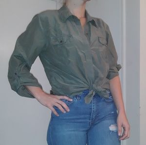 CHICOS olive green button down